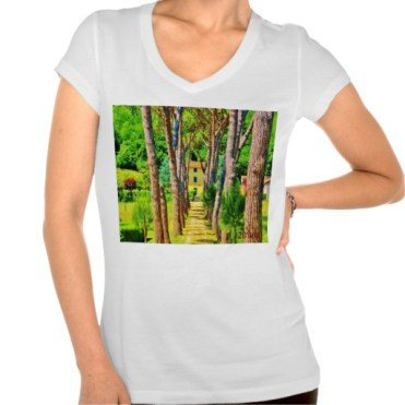 Long Straight Tree-lined Tuscan Driveway, Women, Bella Relax Fit Jersey VNeck, White, Front